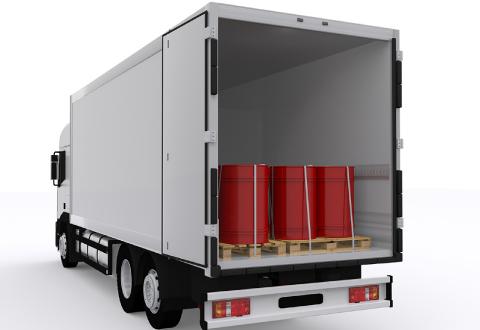 産業廃棄物を積んだトラックの図